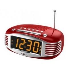 Akai AR400RD Retro Klokradio met Dual Alarm Rood